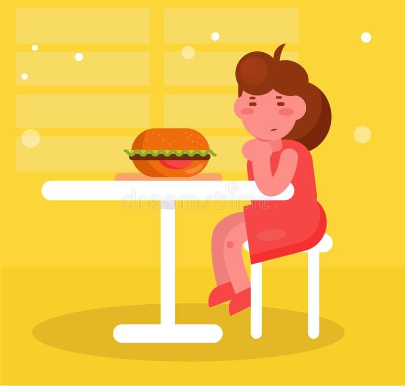 Mädchen sitzt und betrachtet den Burger-Vektor karikatur Lokalisierte Kunst kein Appetit stock abbildung