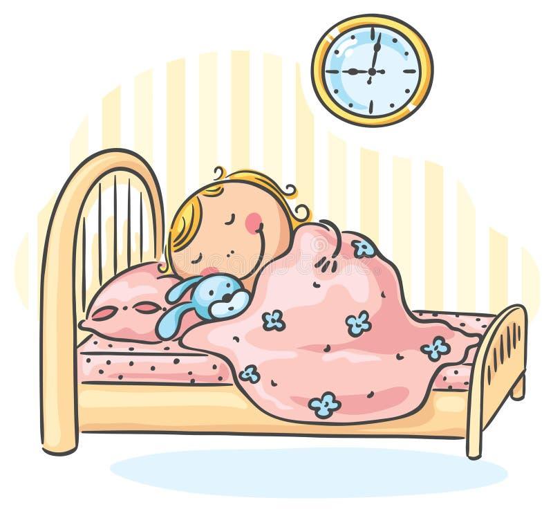 Mädchen sleepeng in ihrem Bett lizenzfreie abbildung