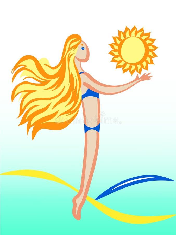 Mädchen, Sonne, Meer lizenzfreies stockfoto