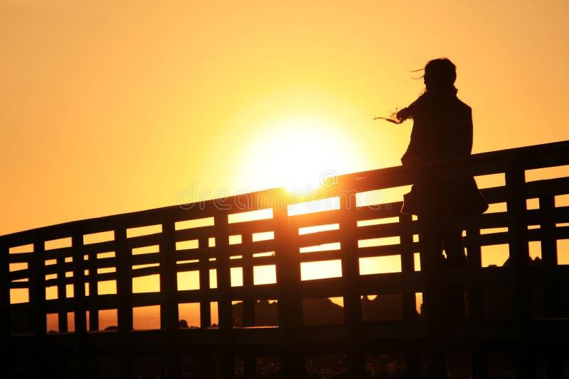 Mädchen am Sonnenuntergang stockbilder