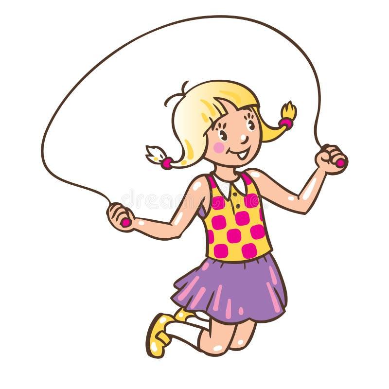Mädchen springt mit Seil lizenzfreie abbildung