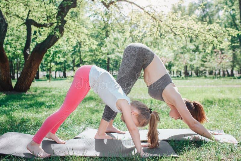 Mädchen stehen in Hundeposition Sie sind, halten ausdehnend und Balance Mädchen werden auf Übung konzentriert yoga lizenzfreie stockfotos