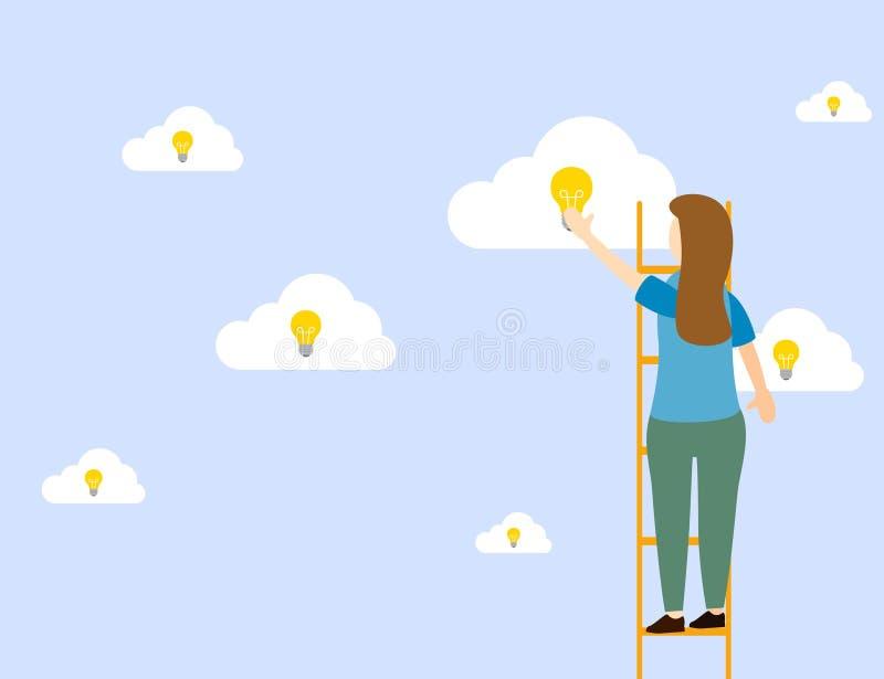 Mädchen steht in der Treppe, um Ideen mit einer Glühlampe zu erzielen vektor abbildung