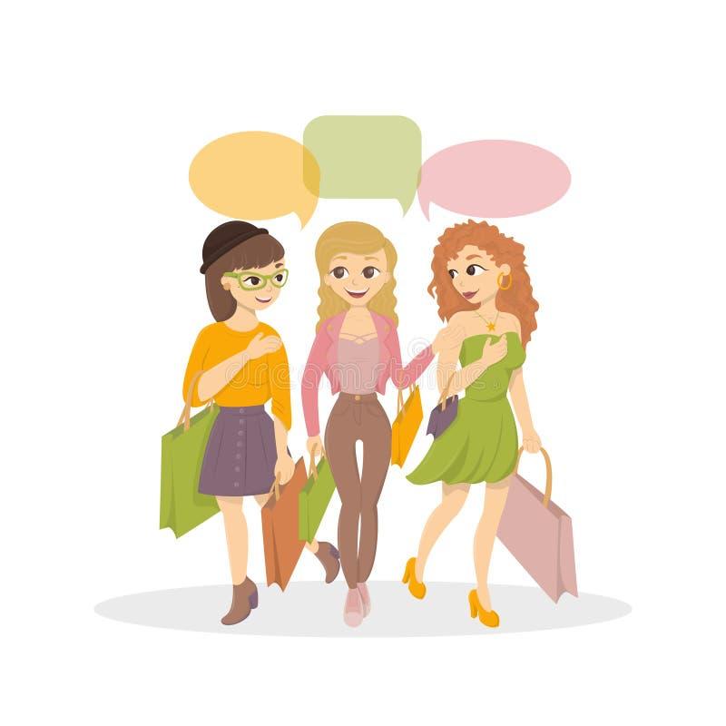 Mädchen streben den Einkauf an lizenzfreie abbildung