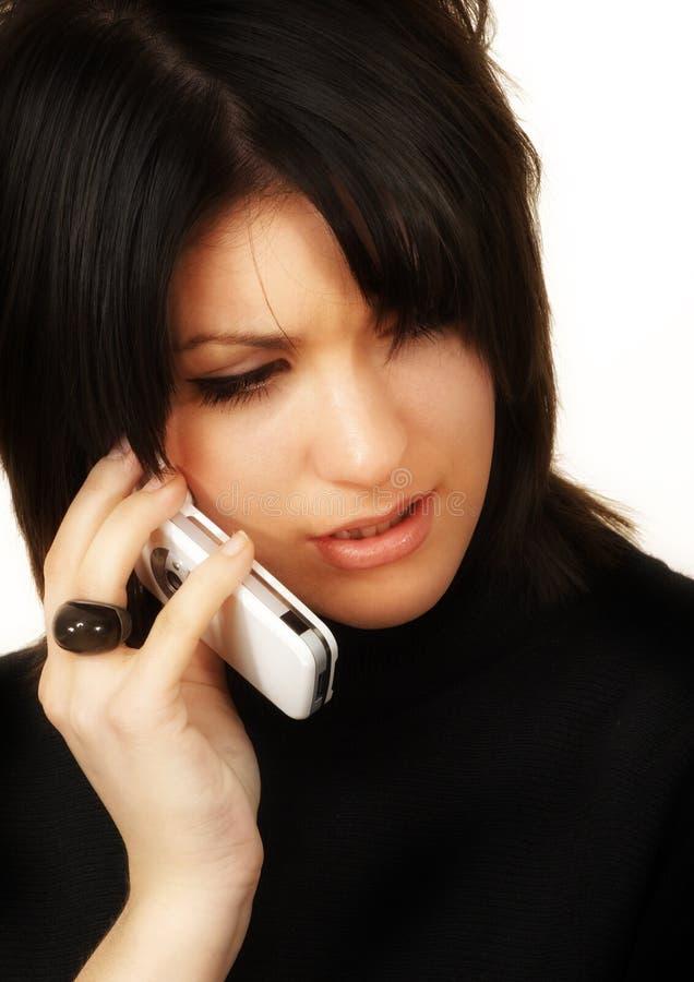 Mädchen am Telefon lizenzfreies stockbild