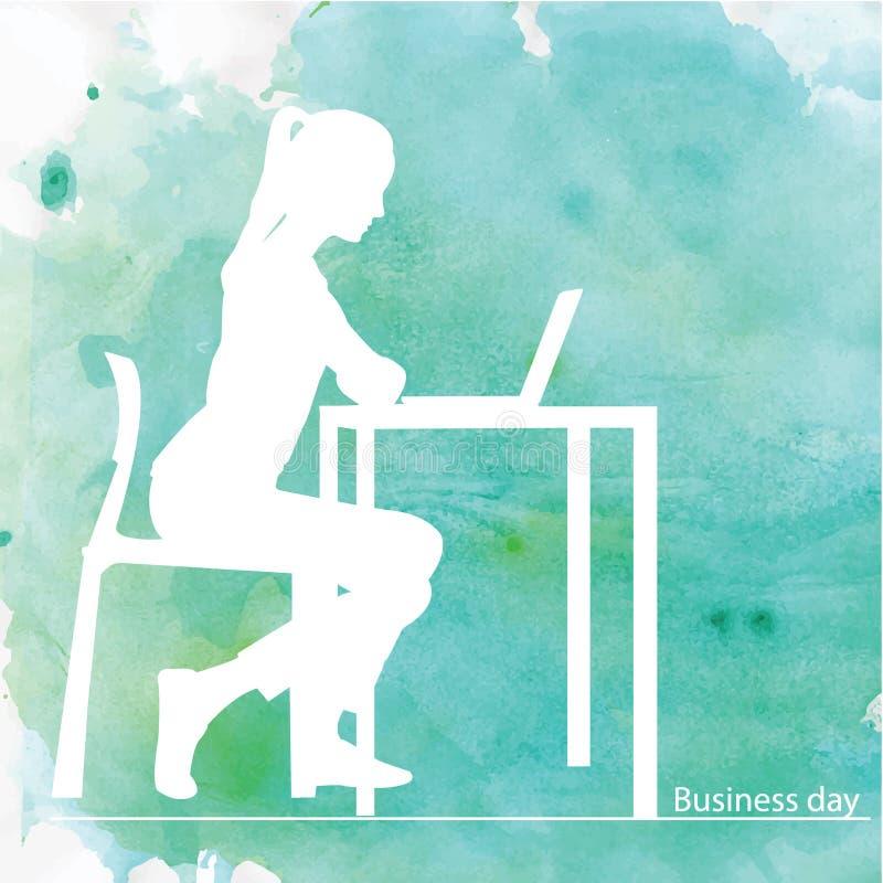 Mädchen am Tisch - Blau stock abbildung