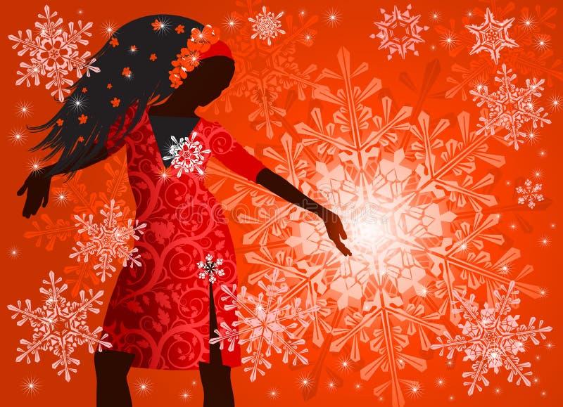 Mädchen u. Schneeflocken lizenzfreie abbildung
