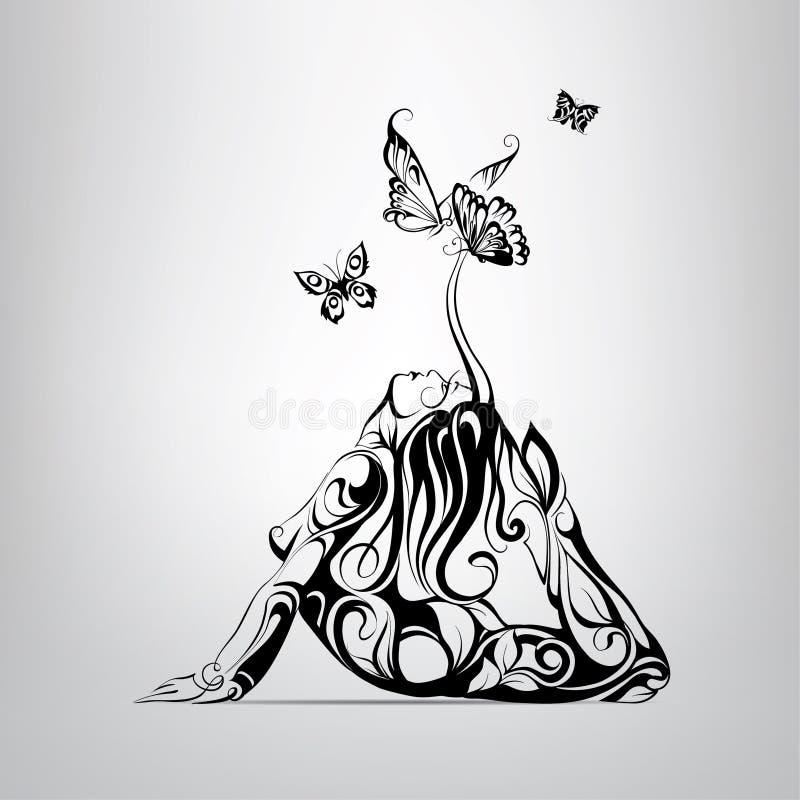 Mädchen umgeben durch Schmetterlinge Auch im corel abgehobenen Betrag vektor abbildung