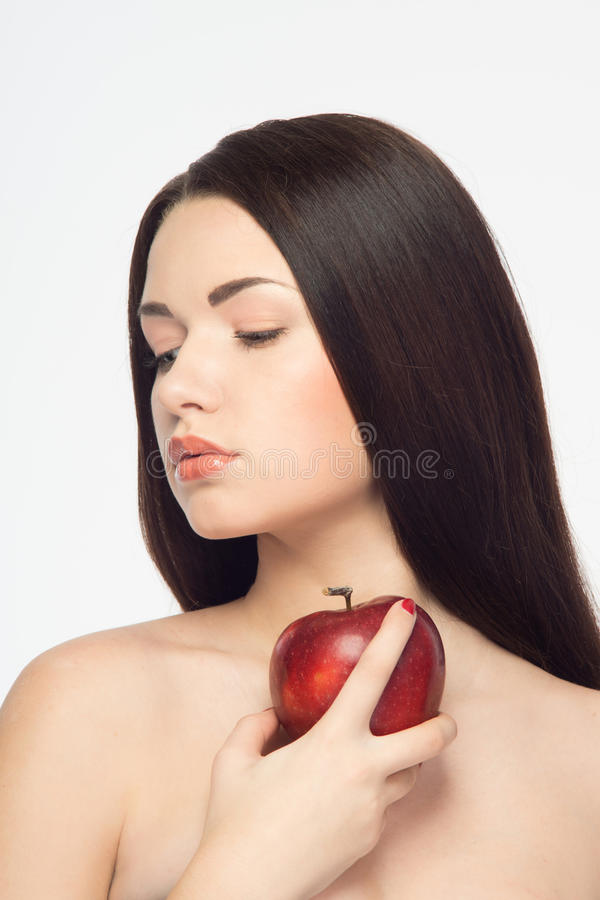 Mädchen und Äpfel stockbilder