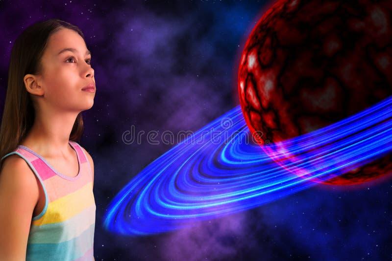 Mädchen-und Ausländer-Planet lizenzfreie stockbilder