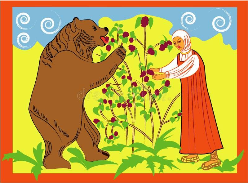 Mädchen und Bär stockfoto