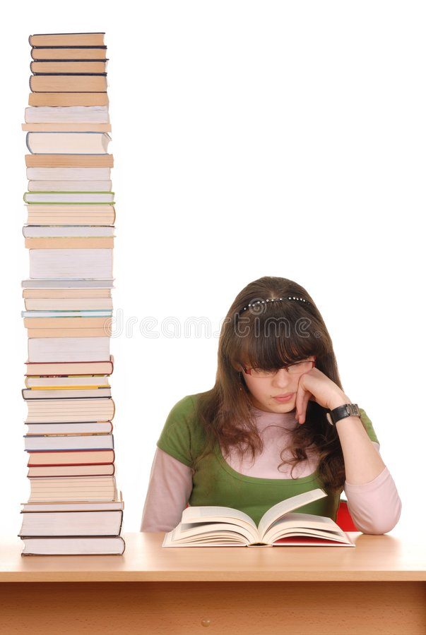 Mädchen und Bücher stockbild