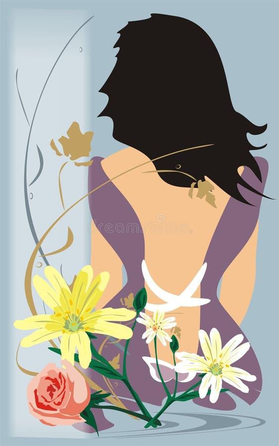 Mädchen und Blumen stock abbildung