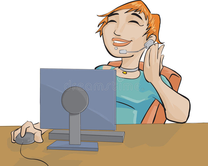 Mädchen und ein Computer lizenzfreie abbildung