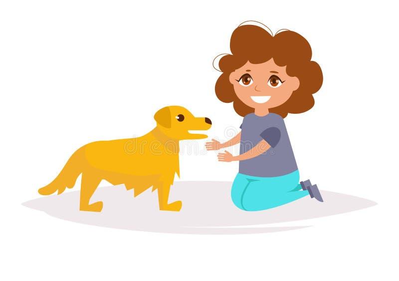 Mädchen und goldenes Labrador Vektor stock abbildung
