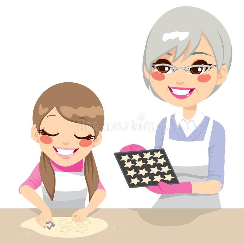 Mädchen und Großmutter, die Plätzchen machen vektor abbildung
