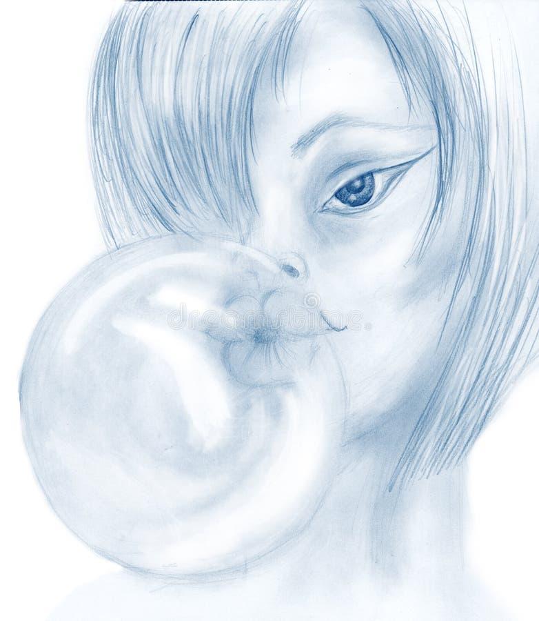 Mädchen und Gummi stock abbildung