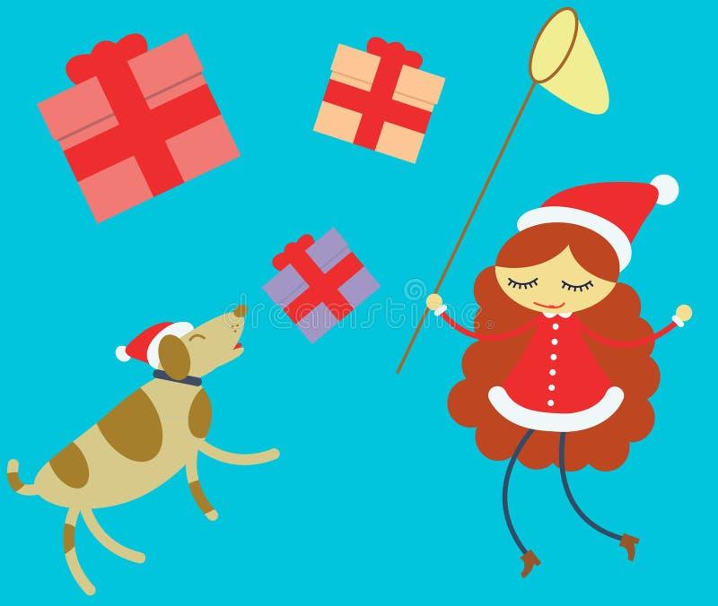 Mädchen und Hund, die Weihnachtsgeschenke jagen stock abbildung