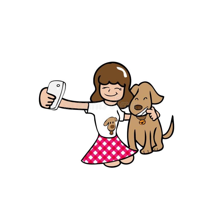 Mädchen und Hund Selfie lizenzfreie abbildung