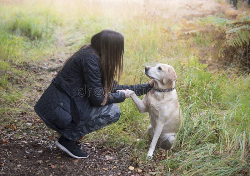 Mädchen und ihr Hund stockbild