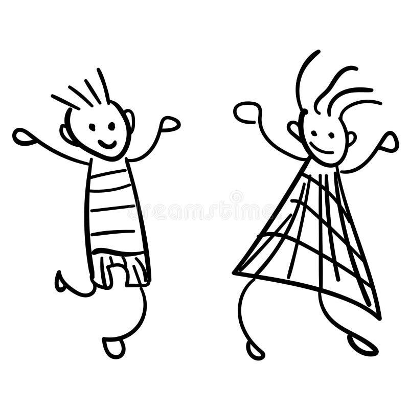 Mädchen und Junge im Stil der Zeichnungen der Kinder lizenzfreie abbildung