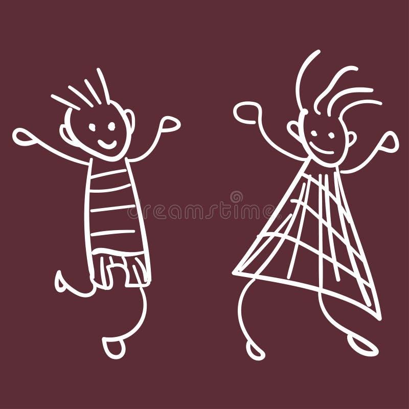 Mädchen und Junge im Stil der Zeichnungen der Kinder vektor abbildung