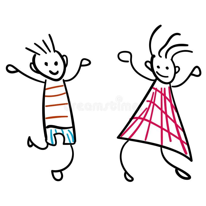 Mädchen und Junge im Stil der Zeichnungsfarbe der Kinder stock abbildung