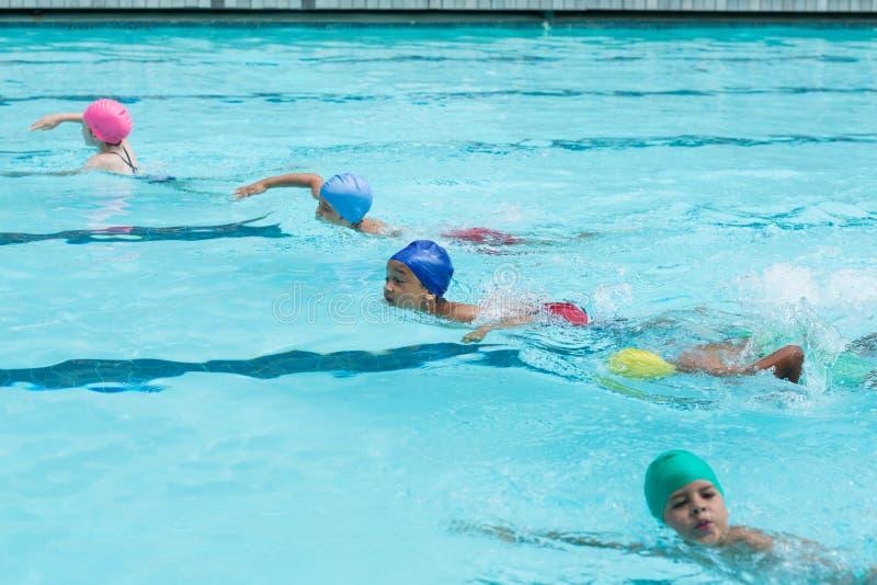 Mädchen und Jungen, die im Pool schwimmen stockfotos