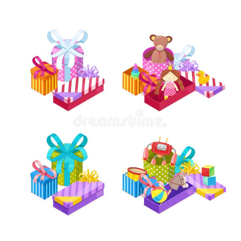 Mädchen und Jungengeschenke Bunte Geschenkboxen mit Bändern und Spielwaren Vektorfeiertagsikonen und -Gestaltungselemente lizenzfreie abbildung