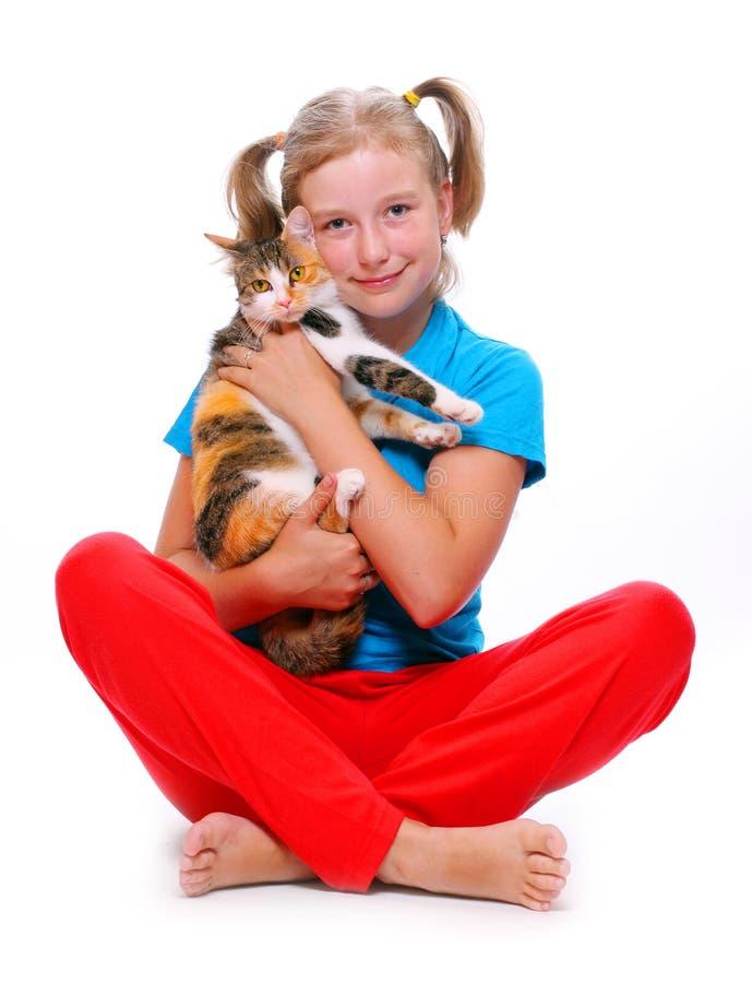 Mädchen und Katze. stockfotos