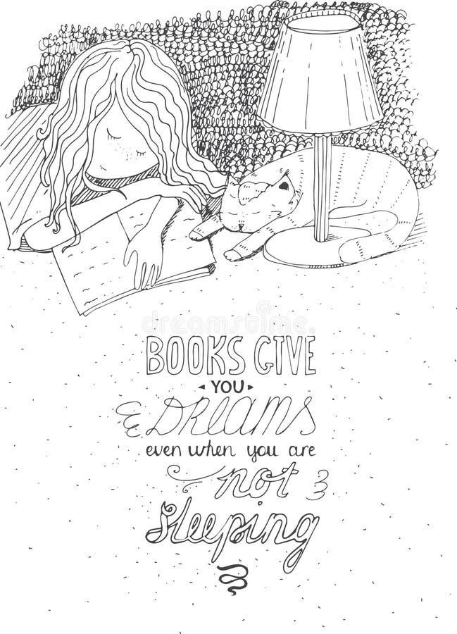Mädchen und Katze, die auf Buch schlafen Vector die Hand gezeichnete Illustration, gemacht mit schwarzer Tinte, Weißbuch lizenzfreie abbildung