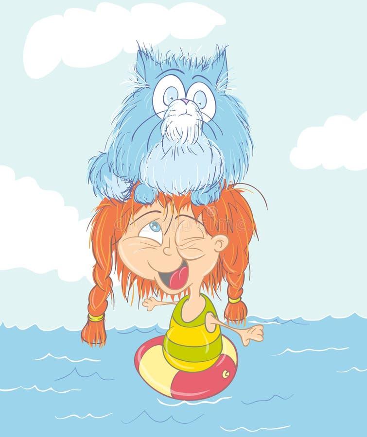 Mädchen und Katze, die im Meer baden lizenzfreie abbildung