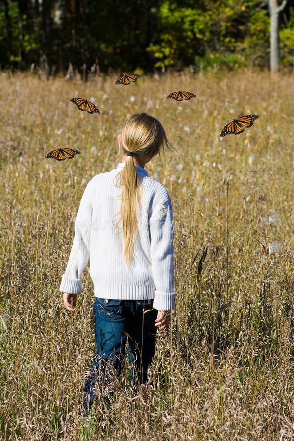 Mädchen- und Monarchbasisrecheneinheiten. lizenzfreie stockbilder