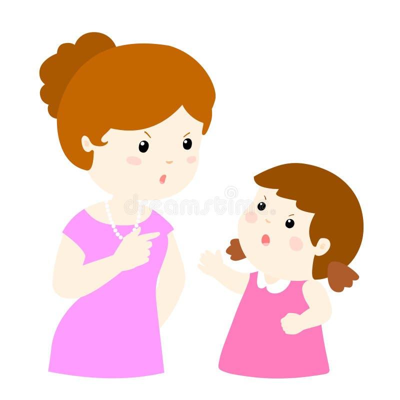 Mädchen und Mutter, die Illustration argumentieren lizenzfreie abbildung