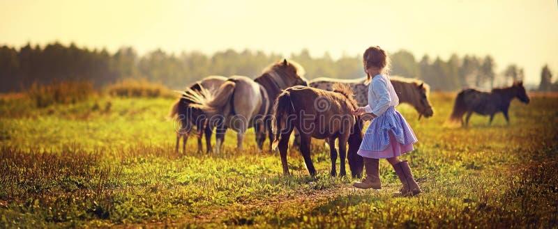 Mädchen und Ponys lizenzfreies stockbild
