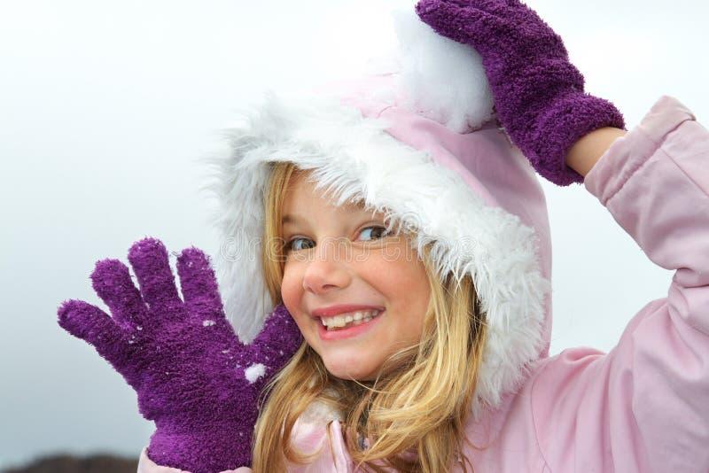 Mädchen und Schnee stockbilder