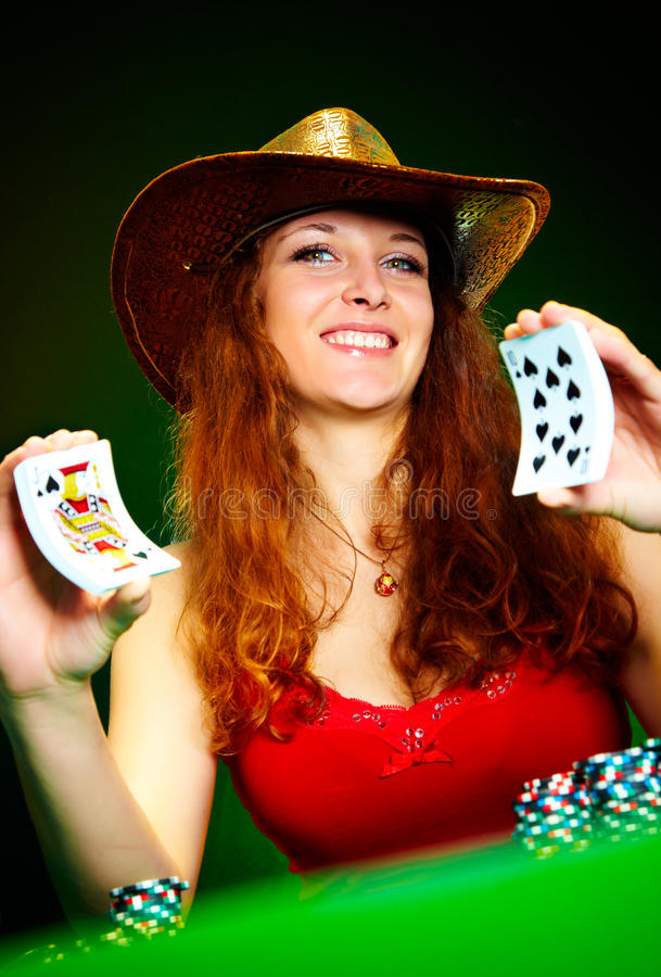 Mädchen und Spielkarten lizenzfreies stockbild