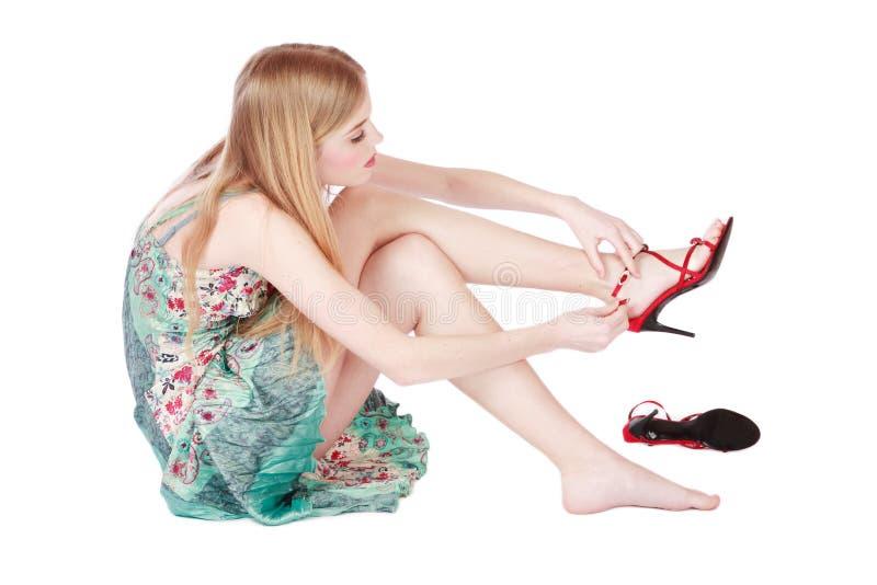 Mädchen und Stiletts stockfotos