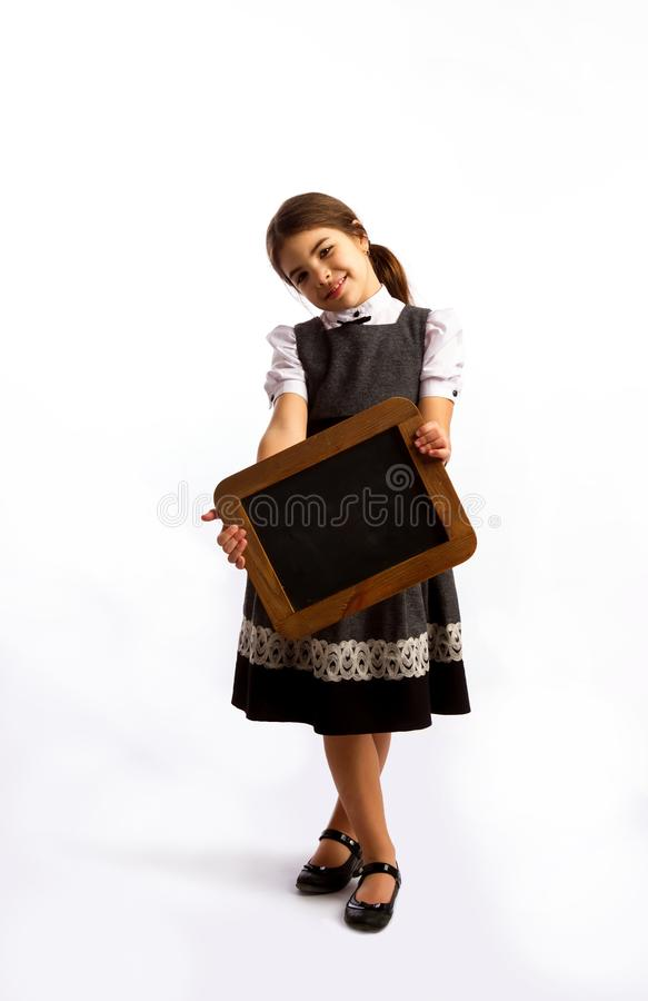 Mädchen und Tafel lizenzfreie stockfotos