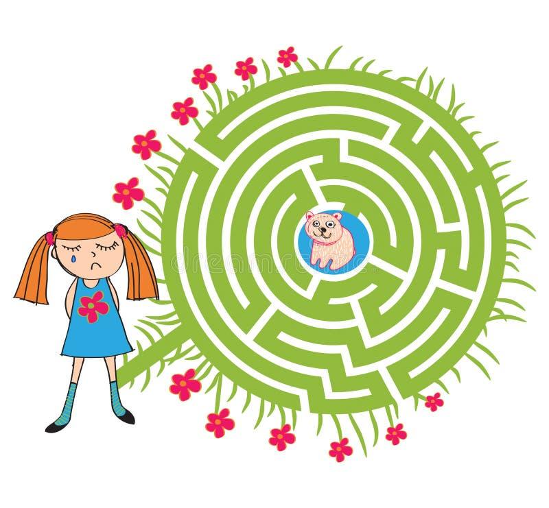 Mädchen und Teddy Maze stock abbildung
