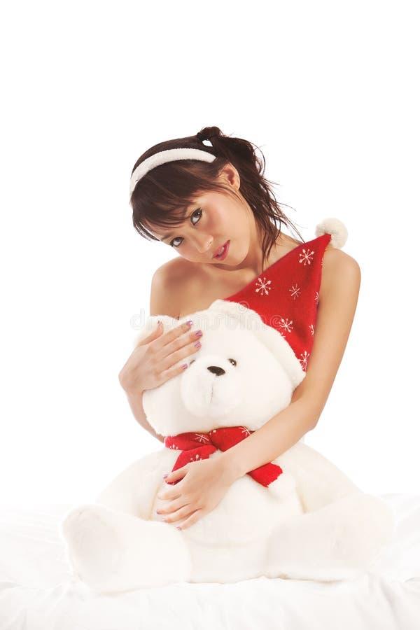 Mädchen und Teddybär lizenzfreies stockfoto