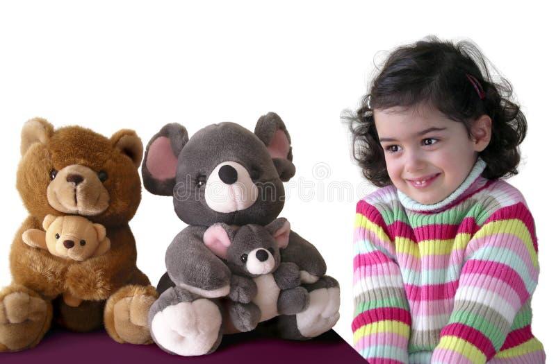 Mädchen und Teddybären lizenzfreies stockbild