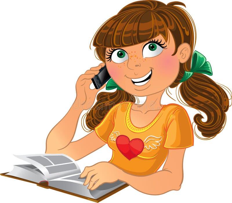 Mädchen und Telefon und Buch lizenzfreie abbildung