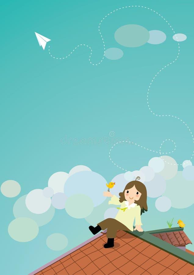 Mädchen und Vögel auf dem Dach vektor abbildung