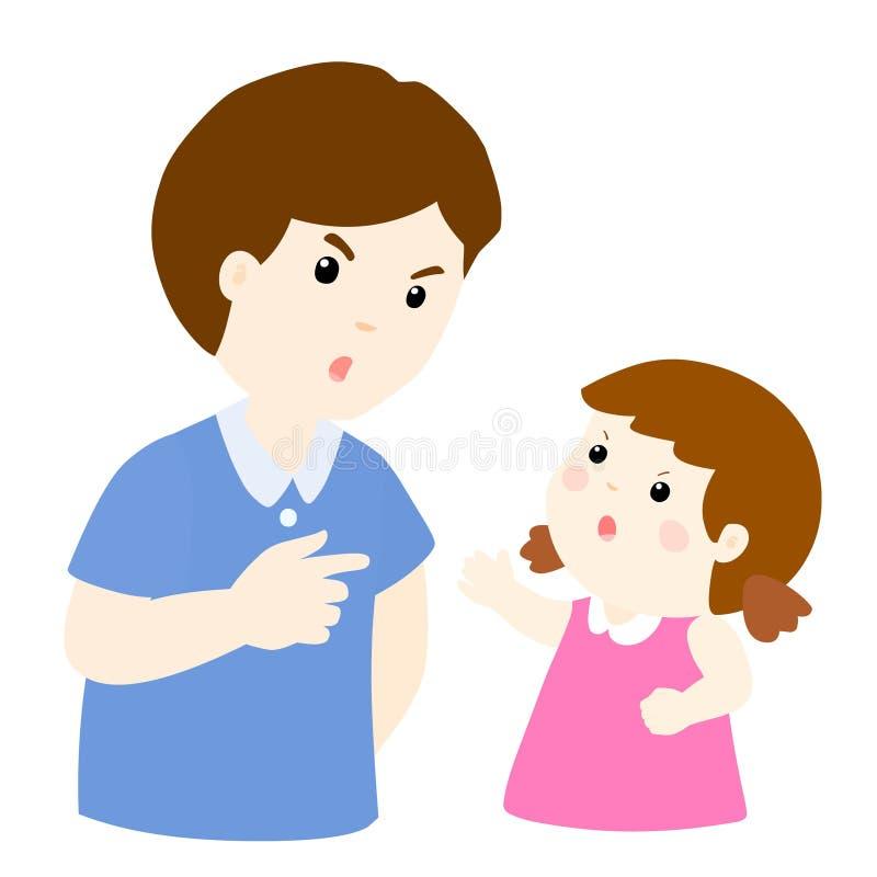 Mädchen und Vater, die Illustration argumentieren stock abbildung