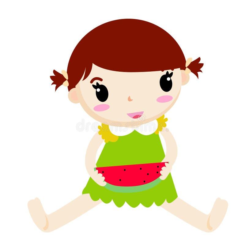 Mädchen und Wassermelone lizenzfreie abbildung