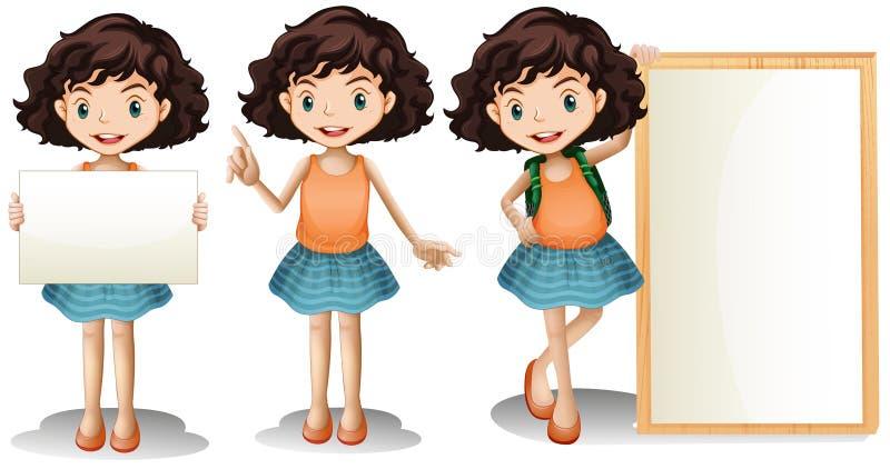 Mädchen und Zeichen vektor abbildung