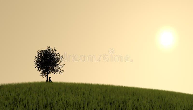Mädchen unter Baum lizenzfreie abbildung