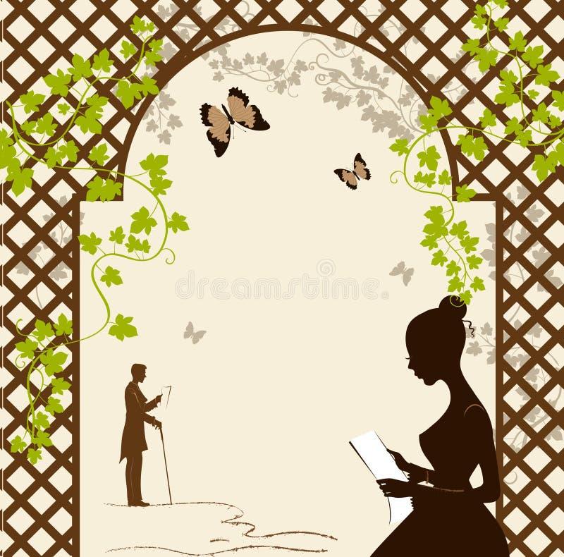 Mädchen unter der romantischen Laube lizenzfreie abbildung