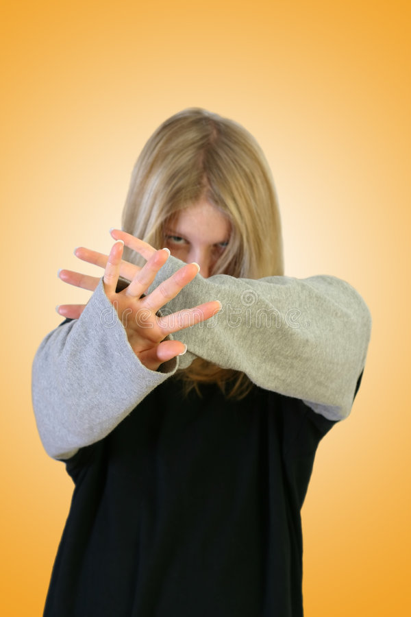 Download Mädchen-versteckendes Gesicht Stockbild - Bild: 45395